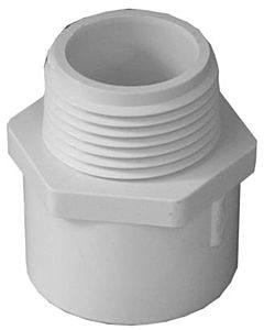 Pvc Pressure Pipe Fitting Male Adapter - White, 3/4 in